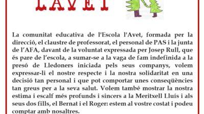 COMUNICAT DE L'ESCOLA L'AVET