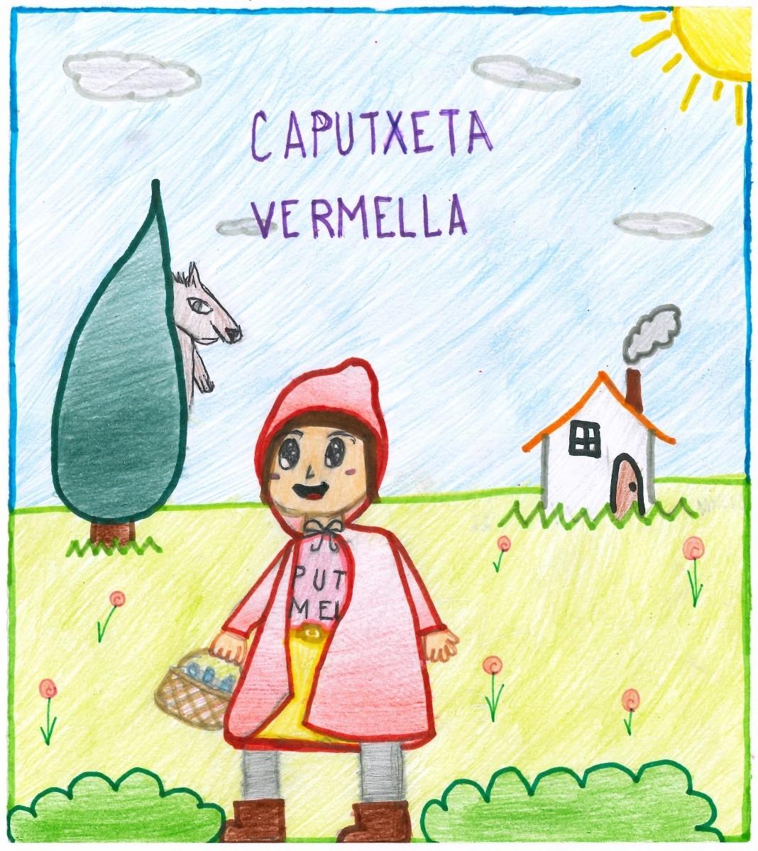 Il·lustració sobre el conte de La Caputxeta Vermella.